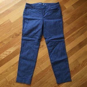 Denim ankle length pixie pants, size 6
